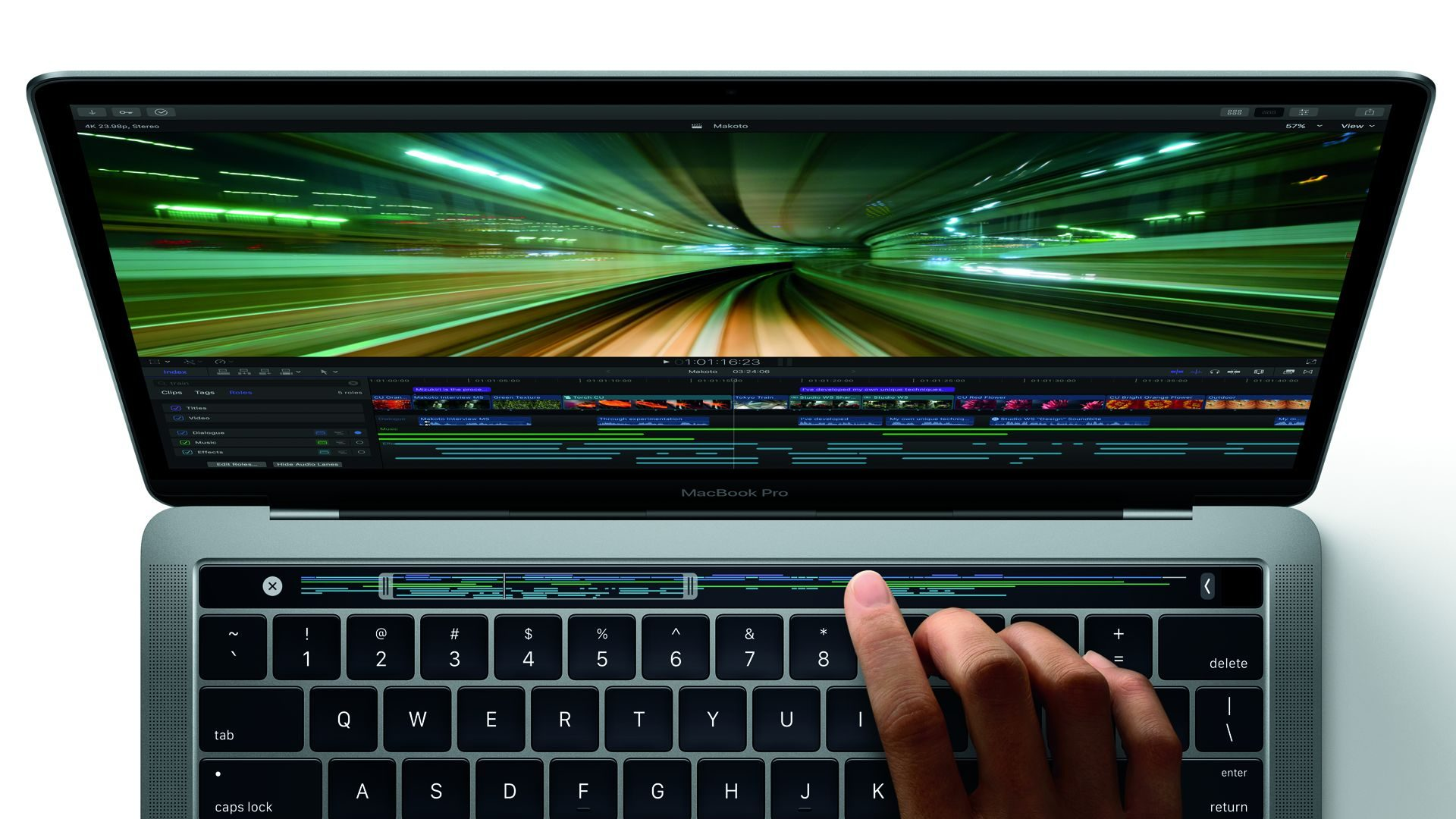 Final Cut Pro X 10.3 nutzt neu MacBooc Pro Touch Bar (Bild: Apple)
